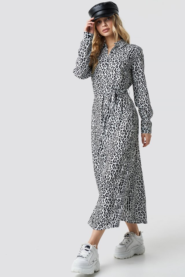 Leo White Leopard Printed Shirt Dress
