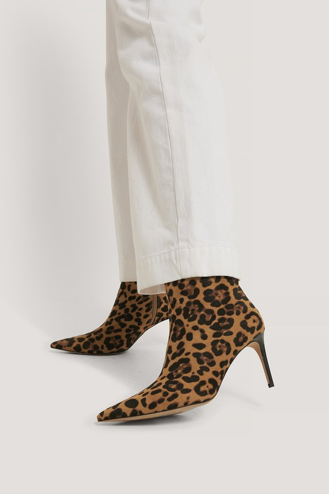 Slanke Spitse Stilettolaarsjes Leopard