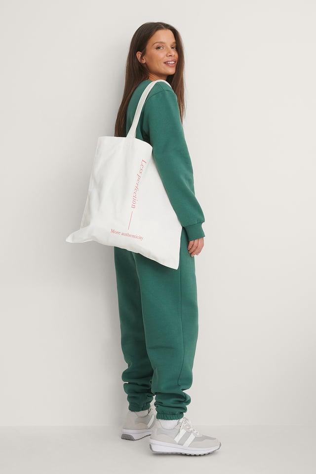 White/Pink Økologisk Firkantet Tote Bag