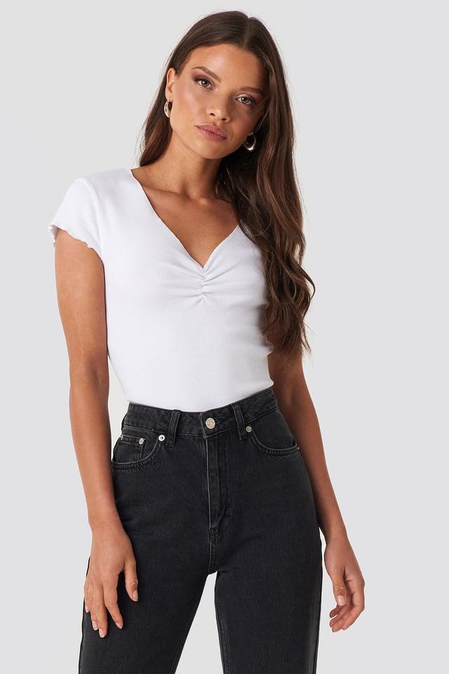 Lettuce Hem Ribbed T-shirt White