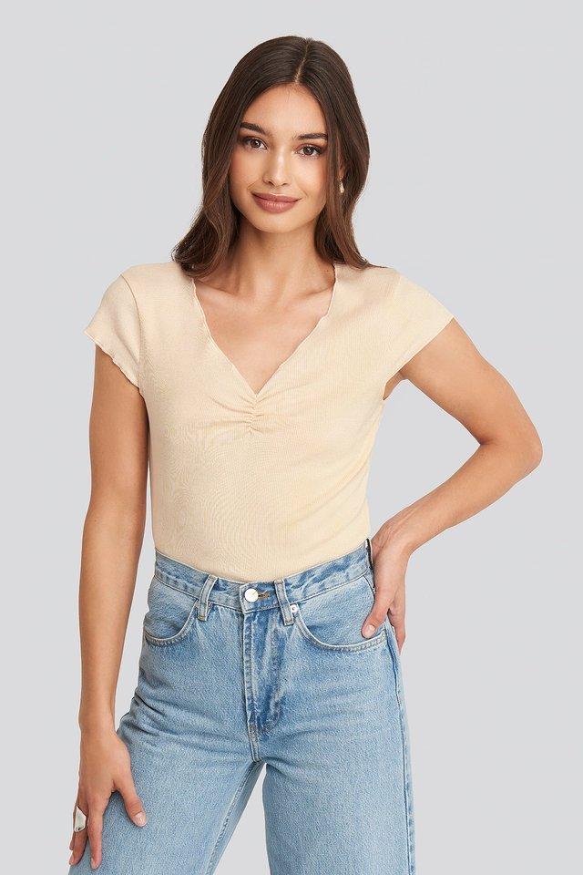 Lettuce Hem Ribbed T-shirt Shell