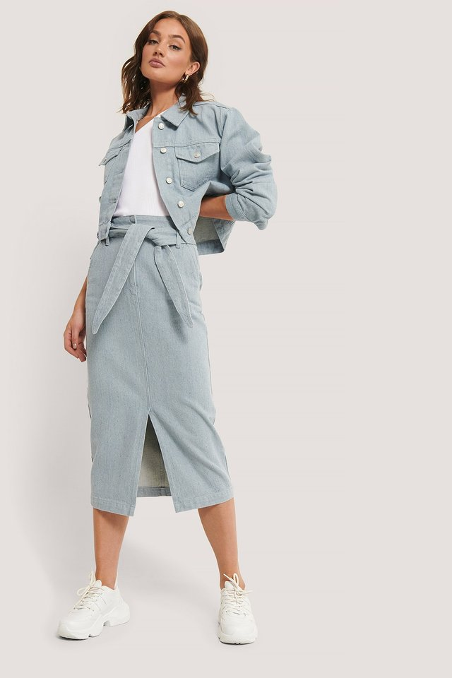 Light Blue Recycled Light Blue Denim Midi Skirt