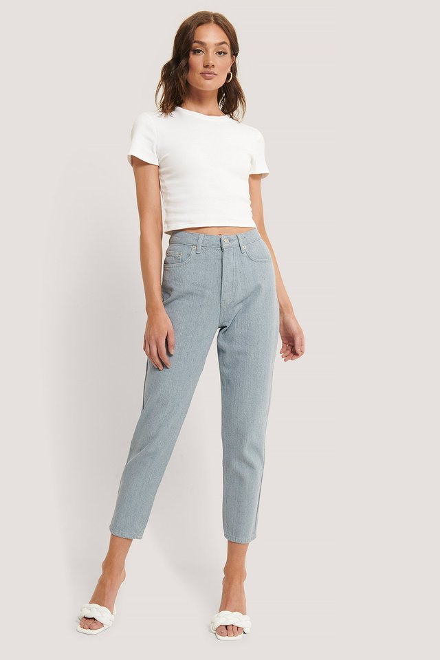 Hellblaue Mom-Jeans Light Blue