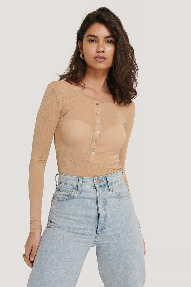 Light Button Up Long Sleeve Top Beige