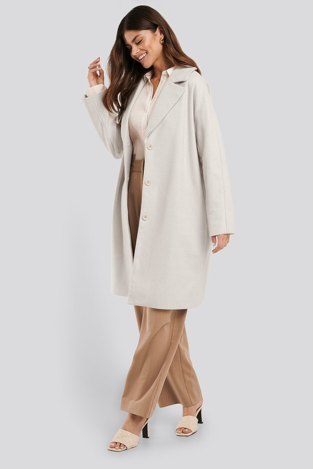 Light Herringbone Coat Cream