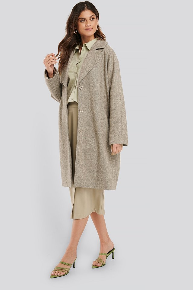 Light Herringbone Coat Dark Beige