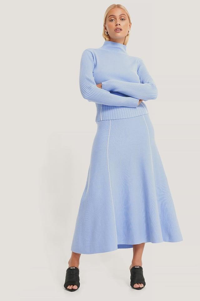 Falda De Punto Ligera Con Detalles En Las Costuras Light Blue