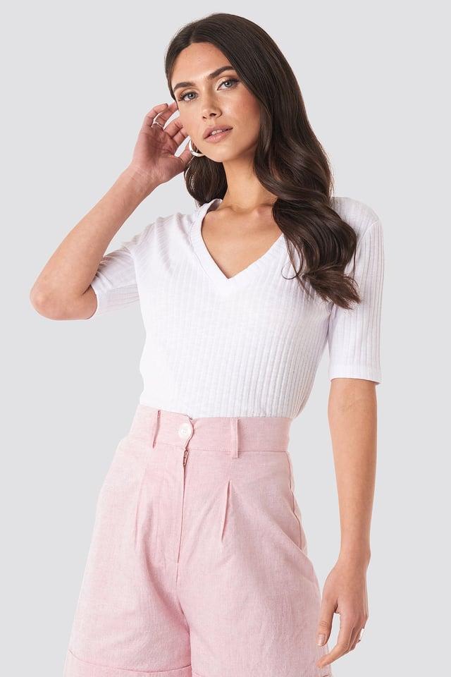 White Light Knit V Front Sweater