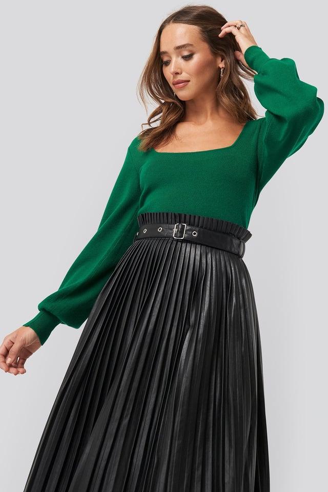Light Knitted Balloon Sleeve Sweater Green