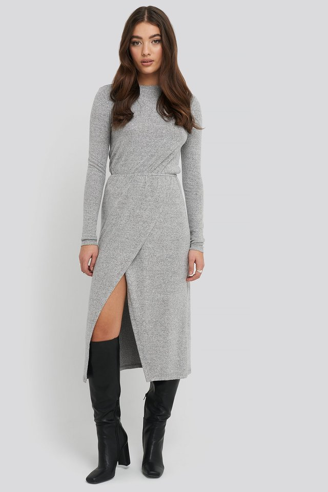 Light Knitted Melange Dress Grey Melange