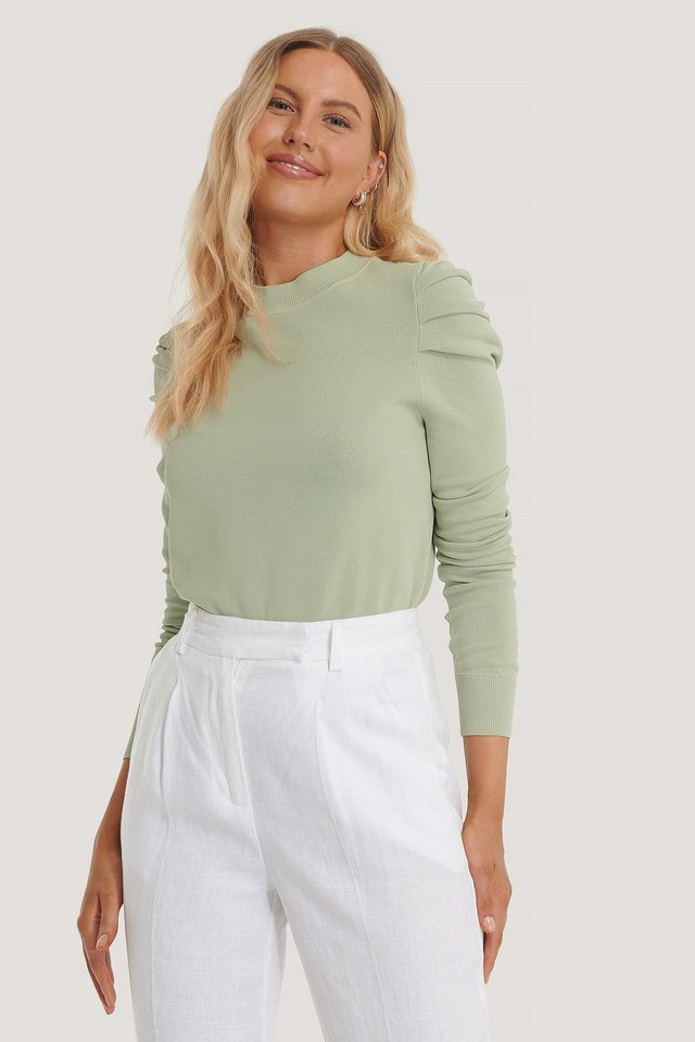 Light Knitted Puff Sleeve Sweater Pastel Green