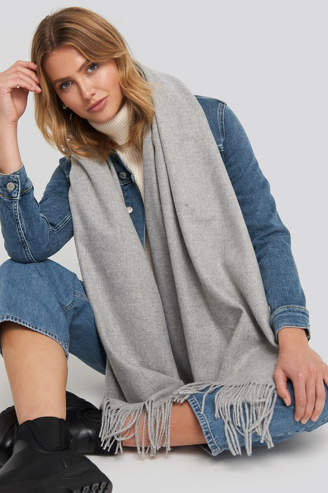 Light Wool Blend Scarf Light Grey