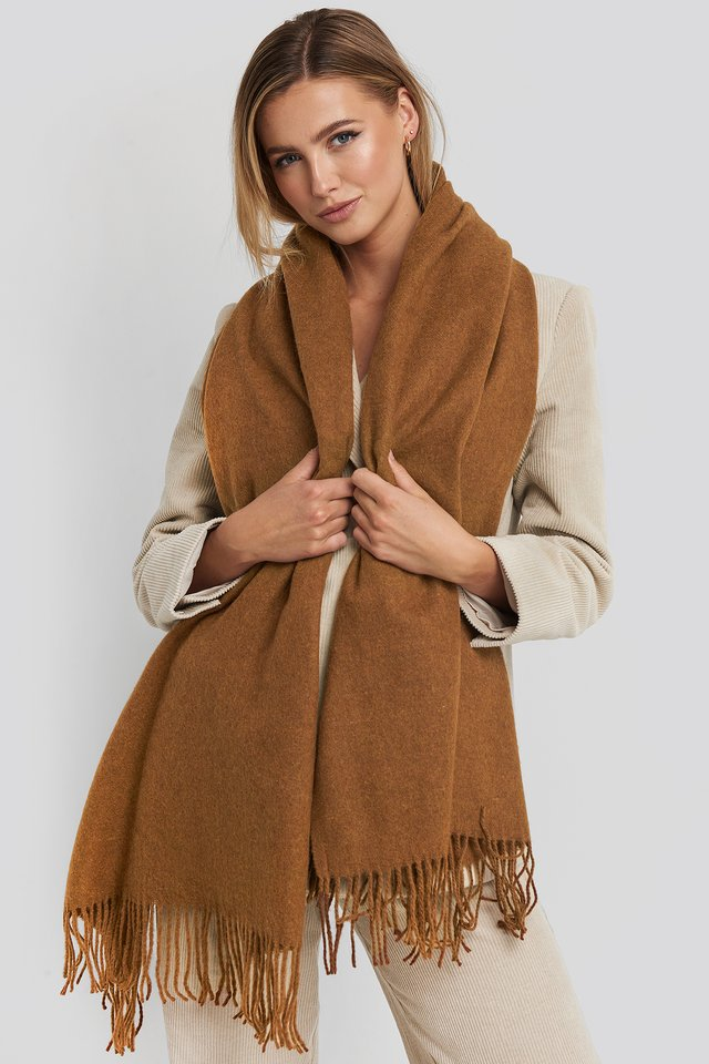Light Wool Blend Scarf Caramel