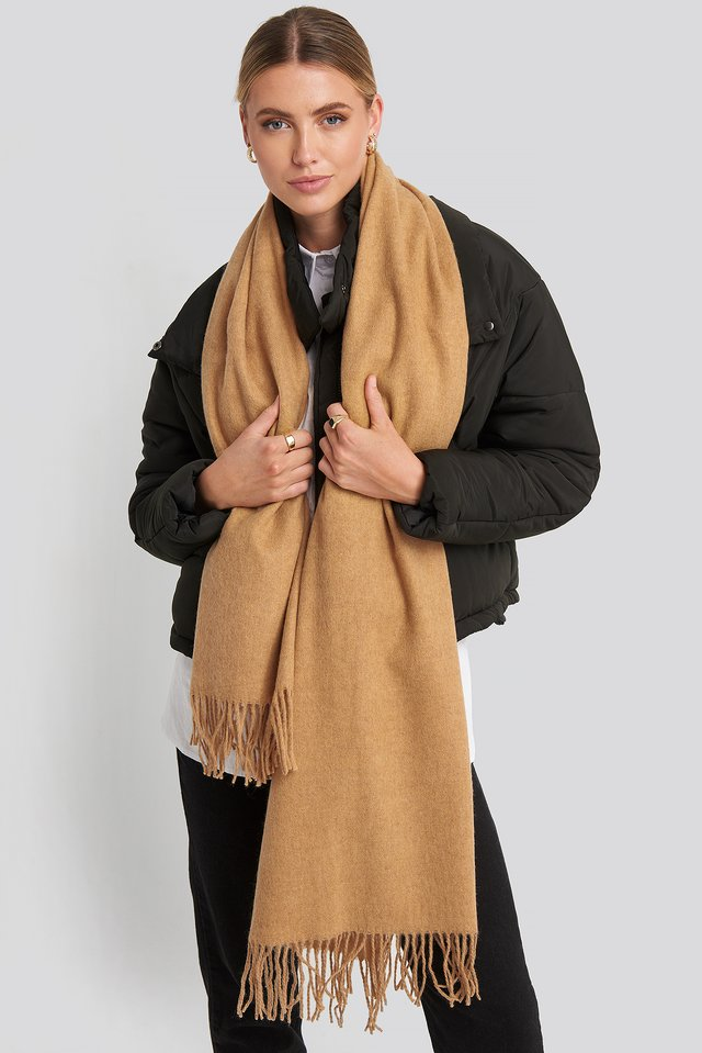 Light Wool Blend Scarf Tan