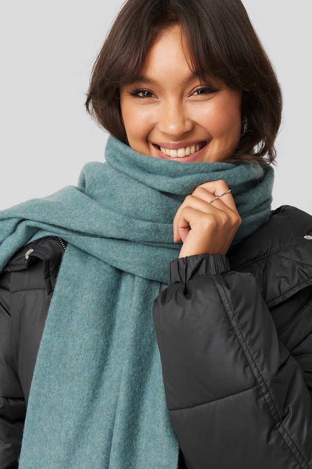Light Wool Blend Scarf Dusty Petrol