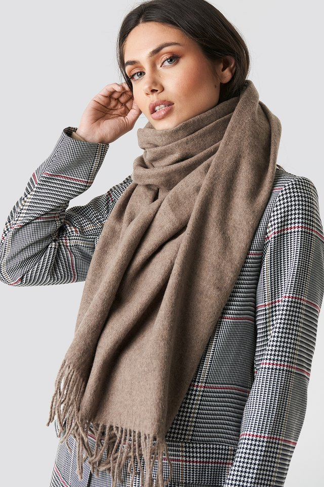 Light Wool Blend Scarf Dusty Sand
