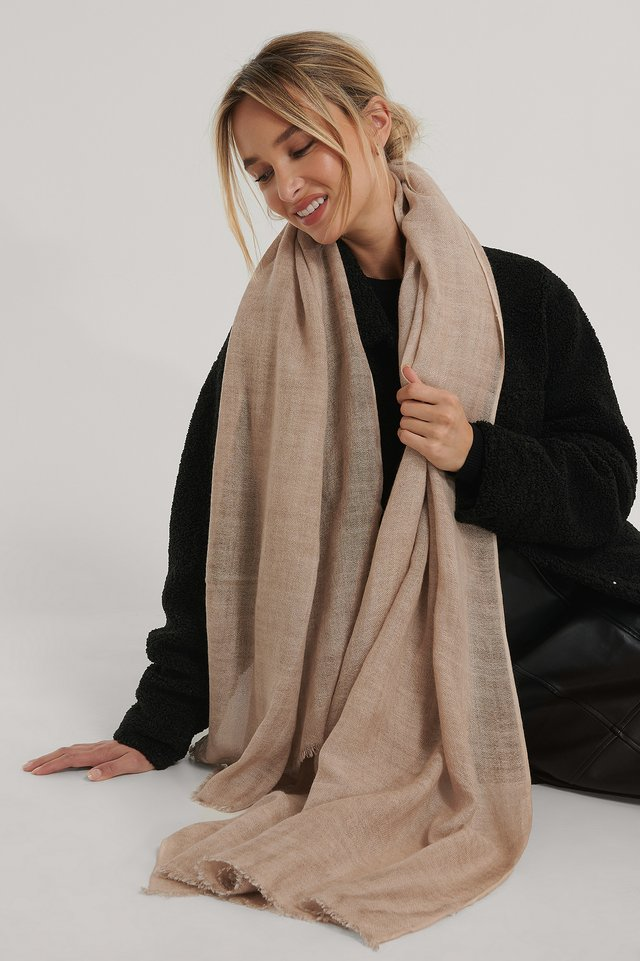 Beige Light Woven Wool Blend Scarf