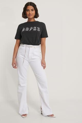 Off Black T-Shirt Met Print