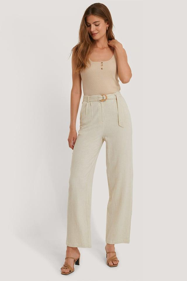 Linen Blend Belted Pants Sand