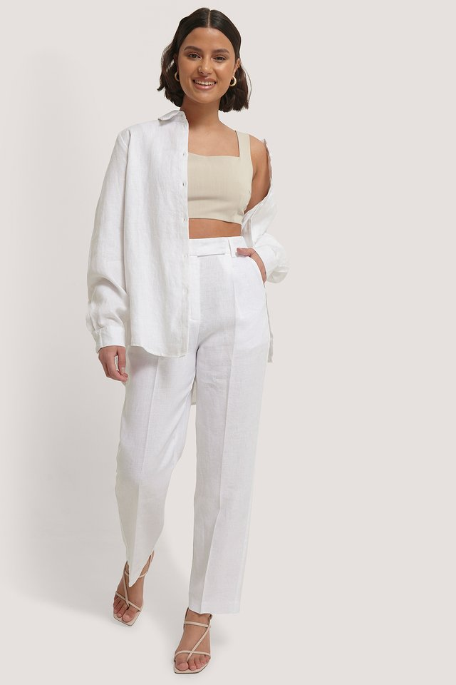Linen Cropped Pants White