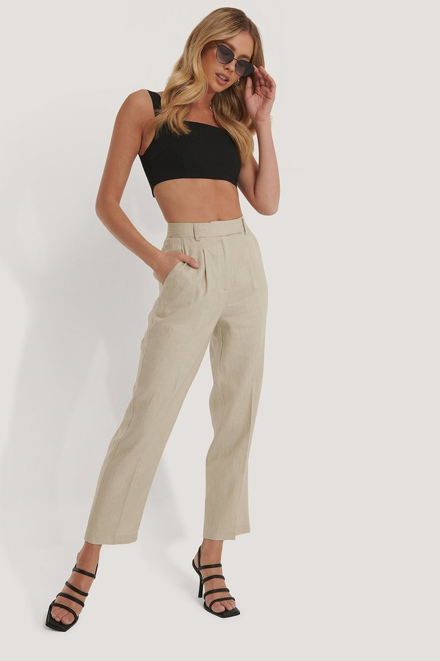 Linen Cropped Pants Beige