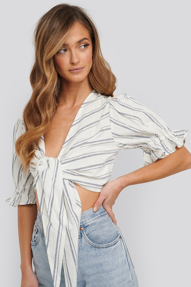 Linen Cropped Self Tie Top Off White/Navy Stripes