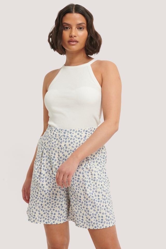 Linen Look Shorts Blue Print