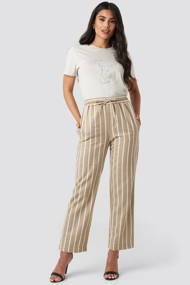 Linen Look Striped Pants Beige