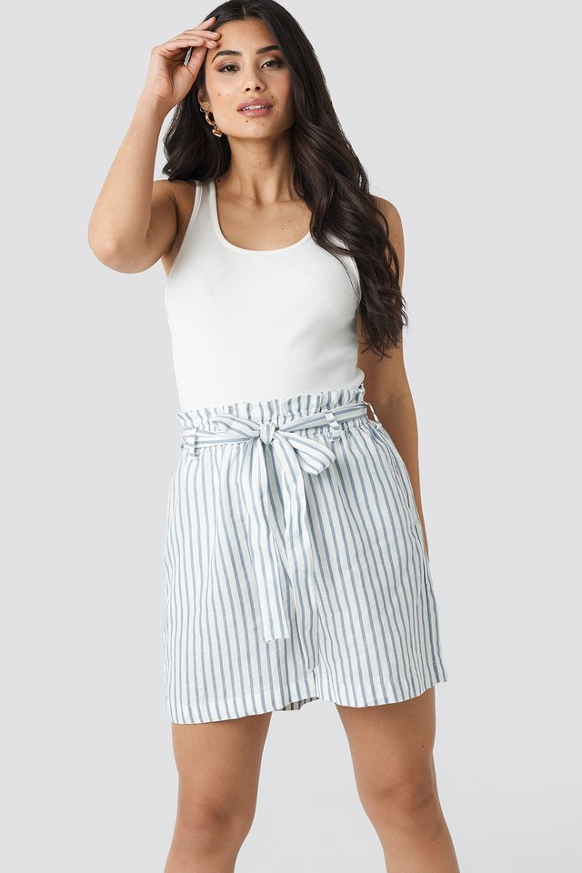 Linen Paper Bag Shorts Stripe Print
