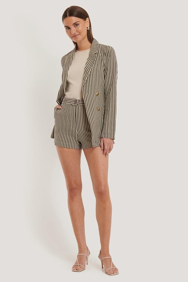 Linen Shorts Black Stripe