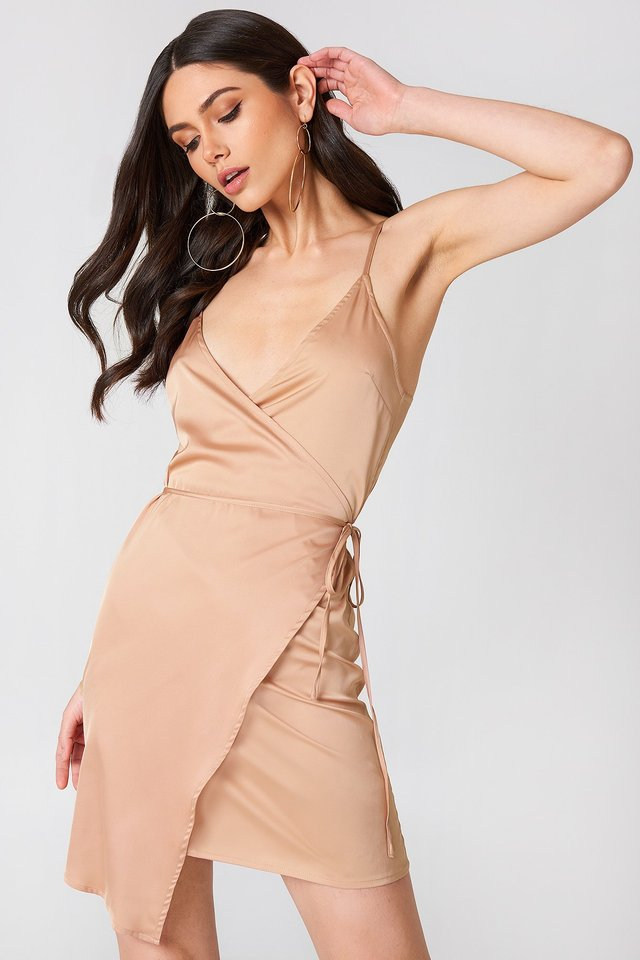 Wrapped Satin Dress Nude