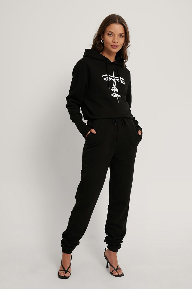 Black Organic Drawstring Printed Sweatpants