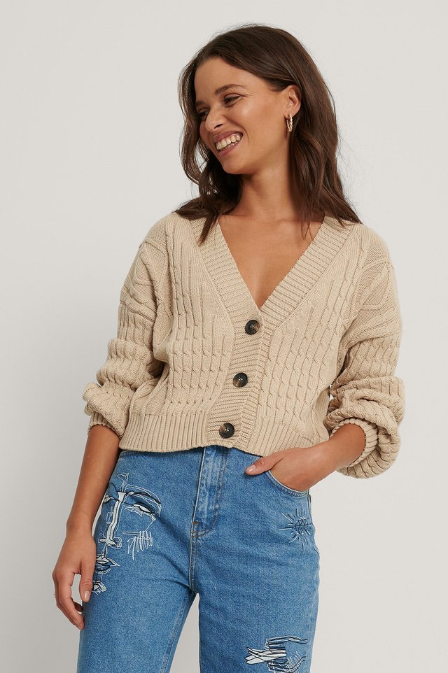 Beige Organic Cable Knitted Cardigan