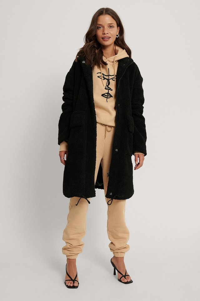 Front Pocket Drawstring Teddy Coat Black