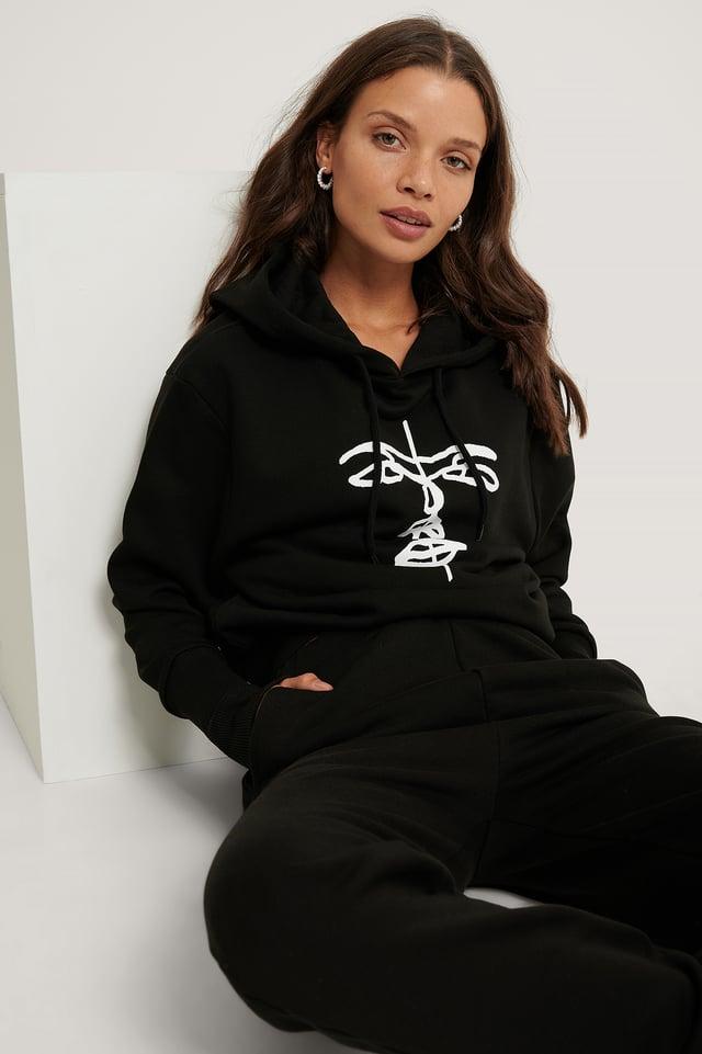 Black Organic Printed Hoodie