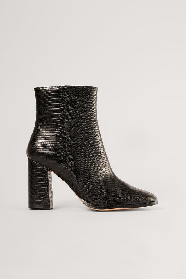 Black Lizzard Block Heel Boots