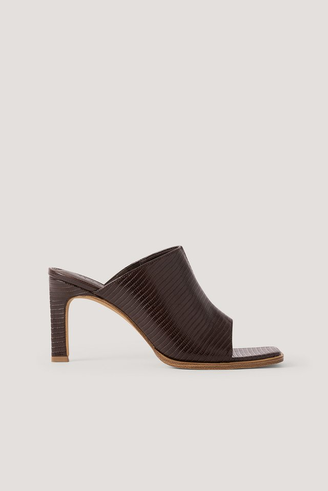 Lizzard Squared Toe Mules Brown