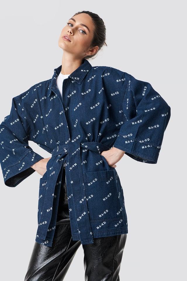 Logo denim Kimono Dark Blue
