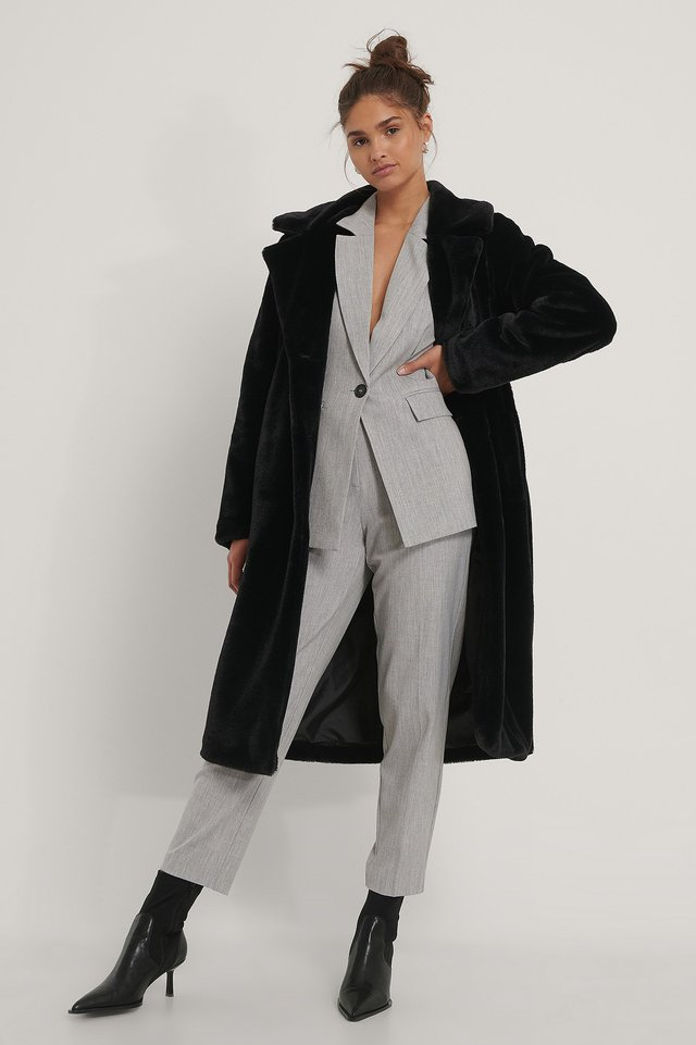 Black Long Belted Faux Fur Coat
