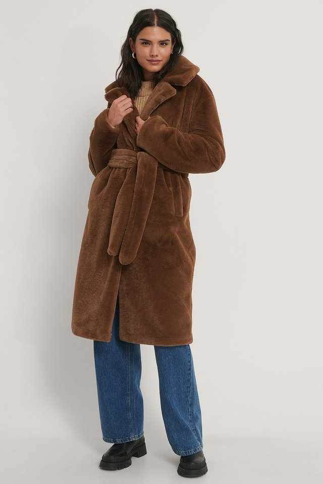 Long Belted Faux Fur Coat Brown