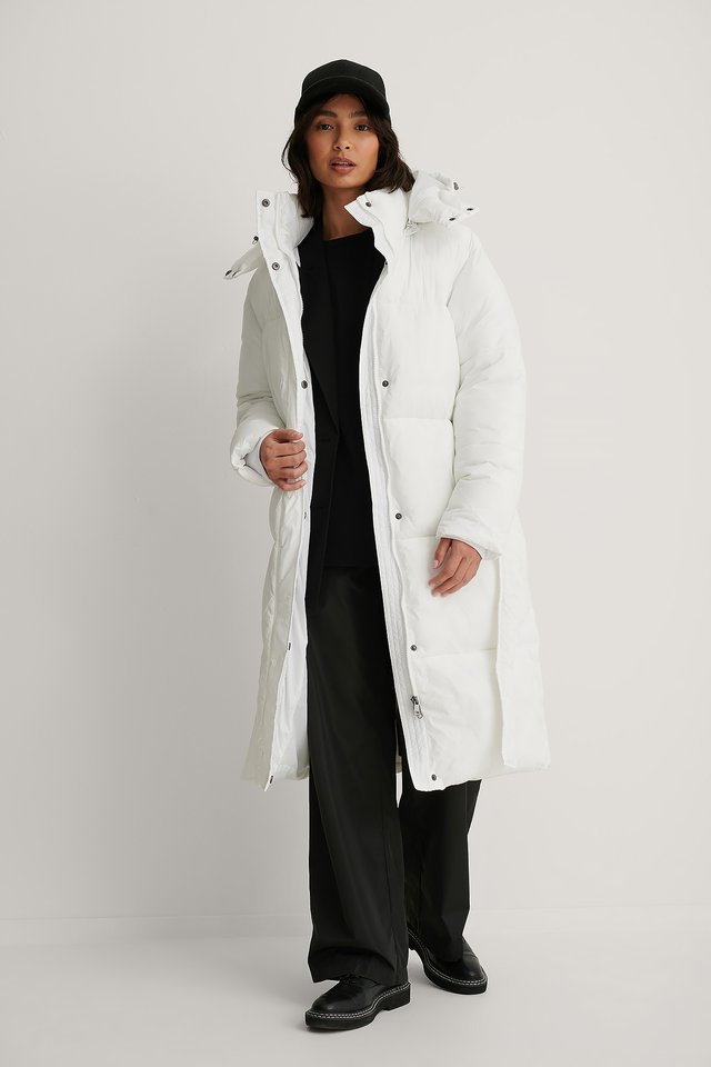Long Belted Puffer Jacket White