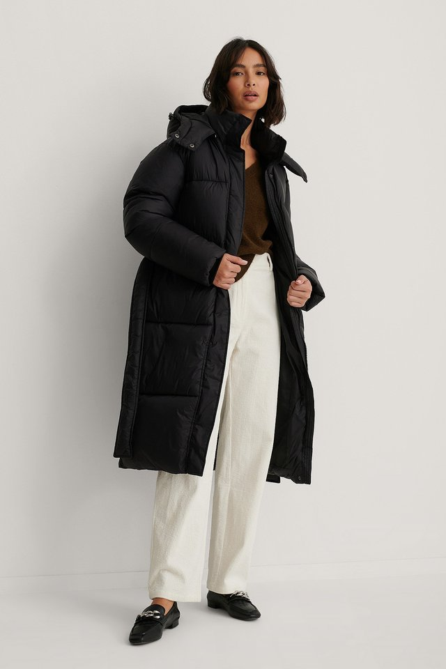 Long Belted Puffer Jacket Black