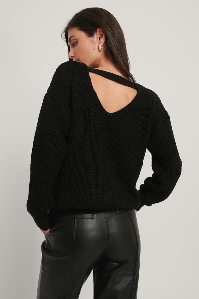 Black Dziergany Długi Sweter