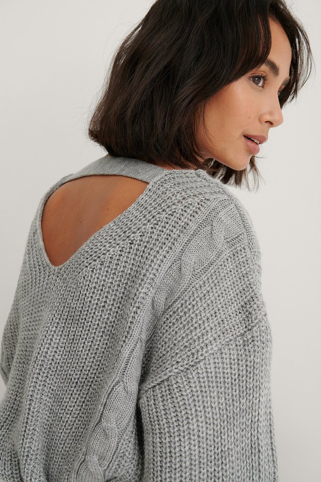 Long Cable Knitted Sweater Grey