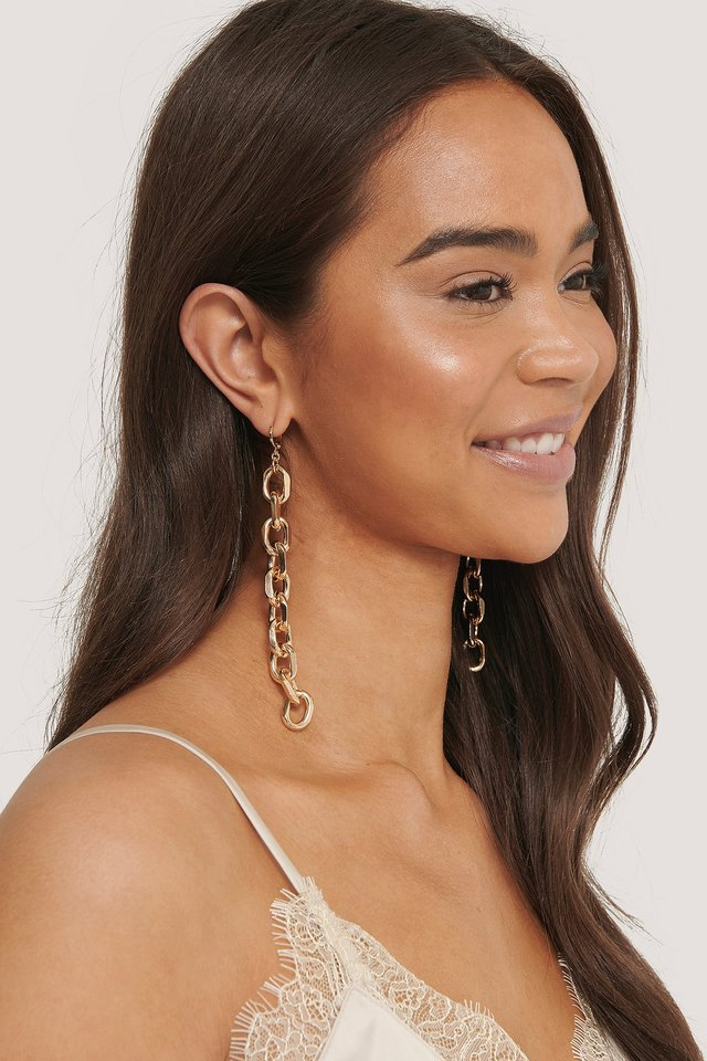 Gold Long Chunky Chain Earrings