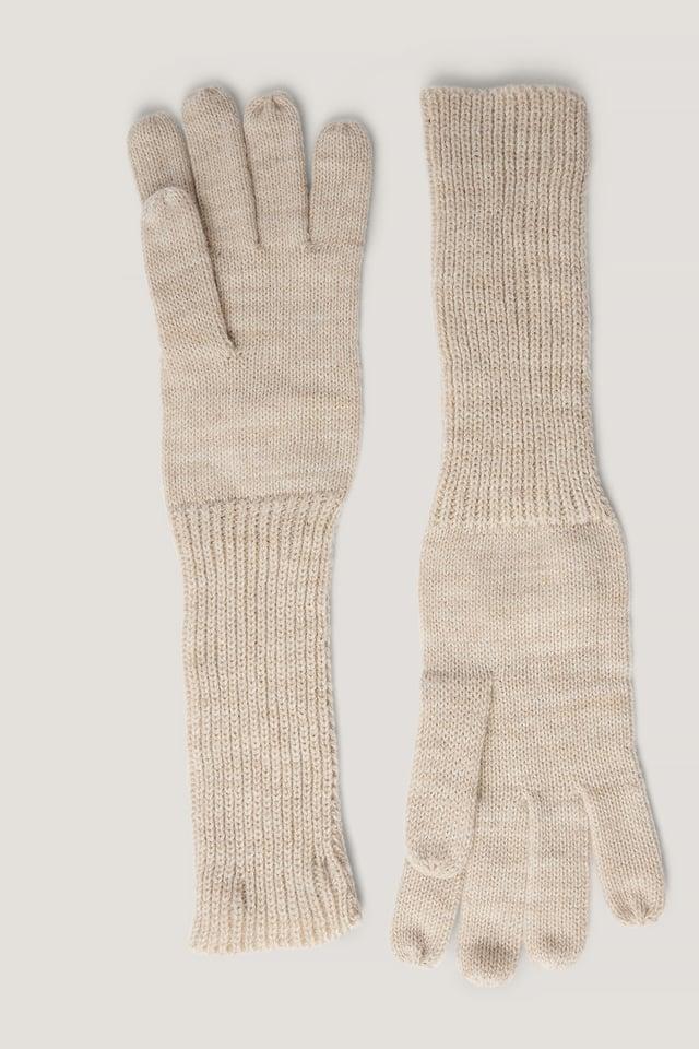 Long Knit Gloves Beige Melange