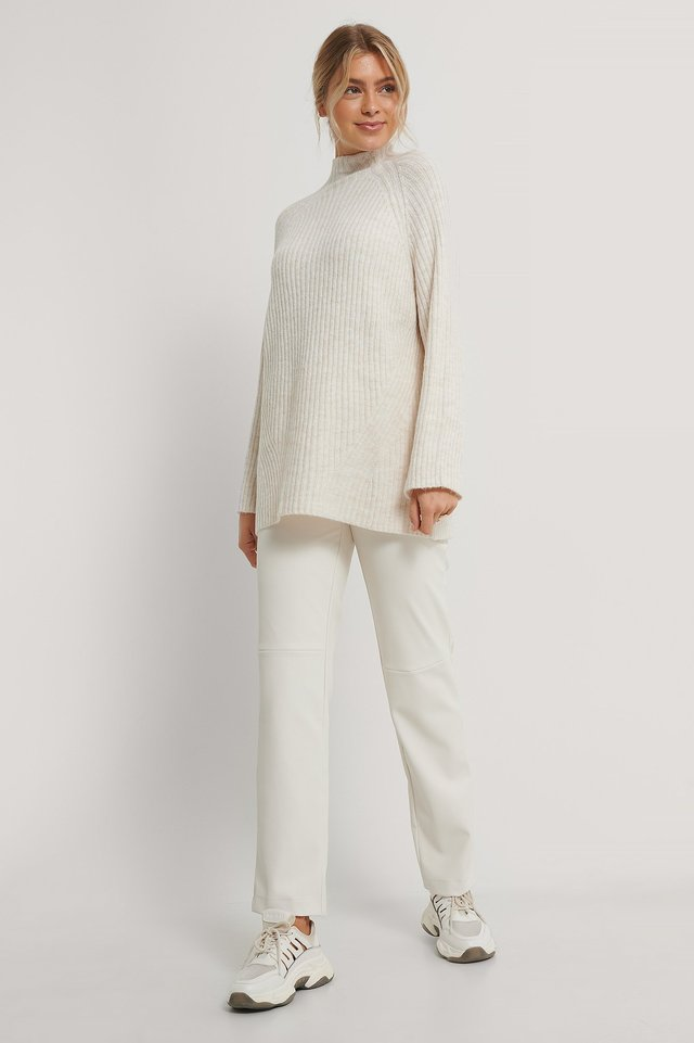White Long Knitted Sweater