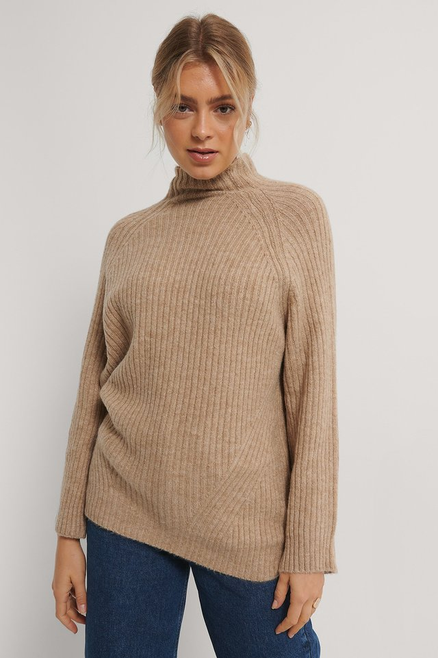 Beige Long Knitted Sweater