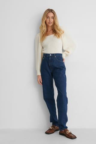 Dark Blue Økologiske Mom Jeans