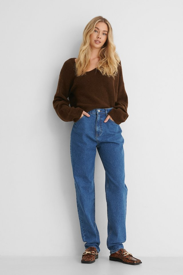 Mid Blue Organic Long Leg Slouchy Mom Jeans